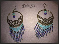 Boucles d'oreilles cheyennes vintage Bleues