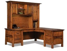 Amish Artesa L Desk with Hutch This L Desk offers lots of room to work. Exceptional from every angle, it's handcrafted in Indiana. Choose the desk or add a hutch top for maximum storage and display space. You are in on the design with lots of custom options to pick from along with wood type, finish and hardware.
