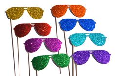 Photo Booth Props  - Summer Shades on a Stick - Set of 8 - Rainbow Glitter Sunglasses - Summer Fun on Etsy, $32.00