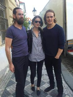 Sam Heughan, Caitriona Balfe and Duncan Lacroix