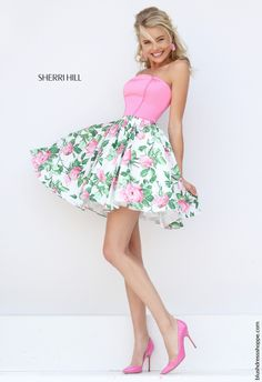 Stunning floral print Sherri Hill dress style 50470 is perfect for prom, a sweet sixteen, and a semi formal event. This fun and flirty dress features a strapless neckline and a printed a-line taffeta