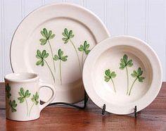 Beleek-inspired painted pottery craft idea--shamrock plate, bowl or mug.