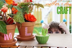 Monogram Pots created using Mod Podge Washout and Apple Barrel paints - Makes a great Mother's Day craft project.