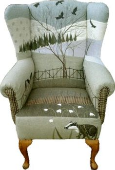 Rustique Interiors: upholstered chair with badger, snowdrops and crows. Funky Furniture, Upcycled Furniture, Unique Furniture, Furniture Makeover, Painted Furniture, Furniture Design, Furniture Chairs, Dining Chairs, Funky Chairs
