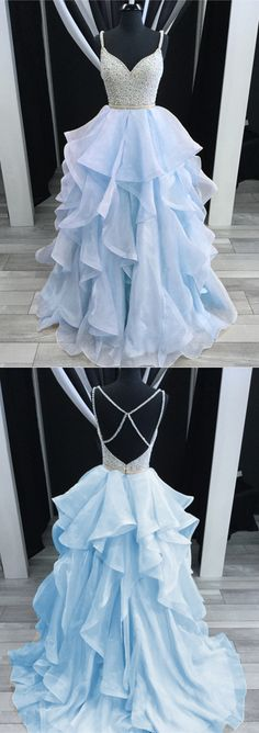 Baby Blue Prom Dresses Ballgowns Organza Ruffles V-neck with beaded and cross back