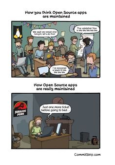 The truth behind Open Source apps | CommitStrip - Blog relating the daily life of web agencies developers