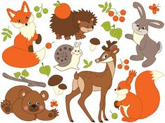 BUY 1 GET 2 FREE - Woodland Animals Clipart - Digital Vector Deer, Fox…