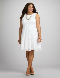 Plus Size Textured Lace Fit-and-Flare Dress - Dress Barn Fit N Flare Dress, Fit And Flare, Plus Size Fashion For Women, Plus Fashion, Womens Fashion, Solange, All White Party, Vestido Casual, Short Outfits