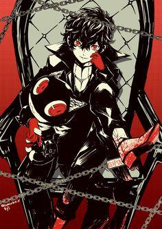 Artist: Pixiv Id 3767451 | Shin Megami Tensei: Persona 5 | Joker | Kurusu Akira | Morgana
