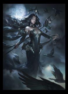 ArtStation - 暗夜女王, Yuanyuan Wang Fantasy Girl, Sci Fi Fantasy, Digital Art Fantasy, Fantasy Artwork, Art Station, Medieval Art, Horror Art, Fantasy Creatures, Fantasy Characters