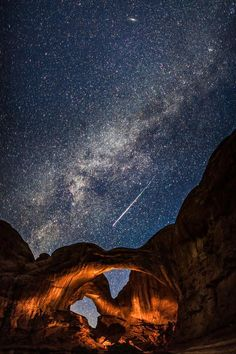 Double Arch in Arches National Park during the Perseid Meteor Shower. By tmphoto.