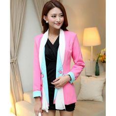 Buy Hot Sale Sweet Women Splice Long Sleeve Blazer Pink China brand wholesale ($18.75) http://www.clubwholesale.net/women/blazers