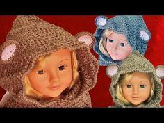 Como tejer a Crochet o Ganchillo gorro con capucha de osito y cuello - YouTube