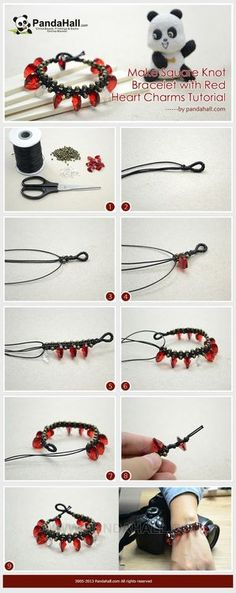 Jewelry Making Tutorial-Make Square Knot Bracelet with Red Heart Charms