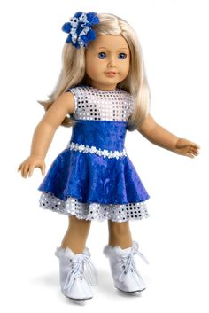 Ice Dancer - Clothes for 18 inch Doll - Blue Leotard with Double Blue and Silver Ruffle Skirt, Decorative Head Flower, White Skates