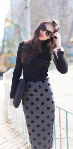 Pencil skirt, cotton long sleeve shirt