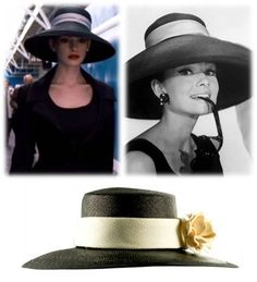 "The look of Anne Hathaway, as Selina Kyle in ""Batman:The Dark Knight Rises"", evokes Audrey Hepburn in 'Breakfast At Tiffany's' (And our ""Portofino"" hat too!)"