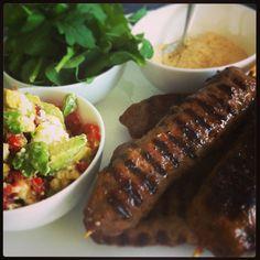 Lamb Kofta with salads - perfect Summertime dinner