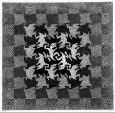M.C. Escher.  Development I 1937 Woodcut. 446mm x 437mm.