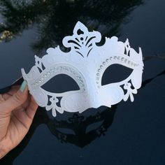On Masquerade Mask White Mask Rhinestone Mask Costume Mask Halloween... ($10) ❤ liked on Polyvore featuring costumes, masks, dark olive, women's clothing, womens snow white halloween costume, lady costumes, olive costume, white lady costume and mardi gras halloween costumes