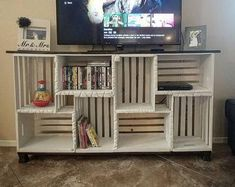 Farmhouse Crate TV Stand (LOCAL PICKUP only) You are in the right place about Wooden crates bookshel Bookcase Tv Stand, Crate Bookcase, Bookshelves, Wood Crate Shelves, Wooden Crates Tv Stand, Crate Tv Stand, Tv Stand Made From Crates, Crates On Wall, Wooden Crate Furniture