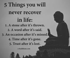 5 Things You Will Never Recover In Life