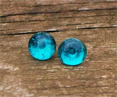 Vintage Ice Blue Mason Jar Recycled Glass Post Earrings