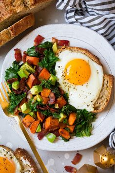 This Sweet Potato Kale Bacon and Avocado Hash is the perfect fall dish! Serve it with a side of buttered whole grain toast and a fried egg to complete it.