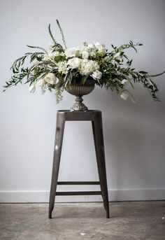 romantic garden rose inspired wedding flowers green wedding flowers silver urn centerpiece organic white green inspired centerpiece utah florist calie rose mary claire photography