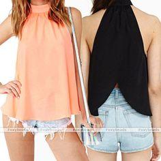 2014 Fashion Women Tops Blouse Strapless Sleeveless Chiffon Casual Shirt  Gift #BrandNew #Blouse #Casual