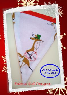 www.facebook.com/fabricgirldesigns Christmas Reindeers bunting. 1.5 meters length, 100% cotton, fully lined, matching Christmas stockings available.