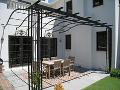 Gardens of Steel Pergolas and wrought iron pergolas in architectural contemporary design concept metal sculpture piece in Toorak Timber Pergola, Steel Pergola, Pergola With Roof, Cheap Pergola, Outdoor Pergola, Wooden Pergola, Pergola Shade, Pergola Plans, Diy Pergola