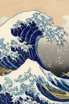 Classic #Japanese #woodblock print of big wave.