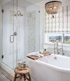 Learn how to decorate like a Pro the easy way when you aren't one and get inspired by these 31 lookalike Fixer Upper Bathrooms. Fixer Upper Bathroom, Cool House Designs, Bathrooms Remodel, Sophisticated Bathroom, Tile Design, Bathroom Sets, Farmhouse Shower, Shower Tile Designs, Bathroom Design