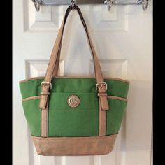 Anne Klein Green Tan Tote Bag
