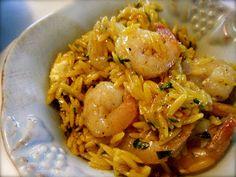 Katie-Kate's Kitchen: Saffron Orzo with Shrimp Salad