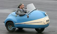 This little blue Brutsch is adorable... and valuable.  These tiny microcars were made well, and only 81 cars rolled off the German production line between 1952-1958.  I want one.