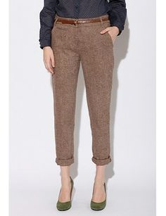 Tapered Brown Tweed Pants