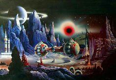 The Vault of Retro Sci-Fi — Johnny Bruck Sci Fi Fantasy, Fantasy World, Space Fantasy, Psychedelic Space, Perry Rhodan, Future Transportation, 70s Sci Fi Art, Japanese Monster, Futuristic Art