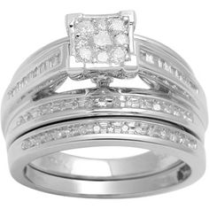 1/2 Carat T.W. Baguette and Round Diamond 10kt White Gold Bridal Set