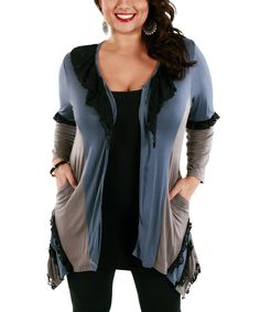 Blue & Black Sidetail Open Cardigan - Plus | zulily