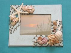 Blue Seashell Photo Frame Shell Picture Frame by TheSleepySeahorse