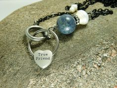 True Friend Charm Necklace - Black Chain with Pearls, Crystals, and More Glitz <3 by ksyardbird