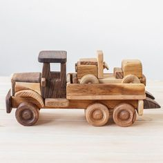 Custom Wooden Toys Baby Wooden Tow Truck Wood Toy Truck | Etsy