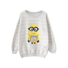 ROMWE Striped Minions Print Grey Sweatshirt ($29) ❤ liked on Polyvore