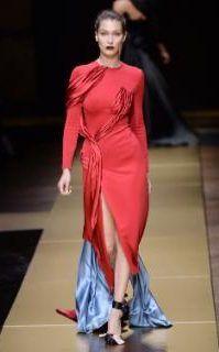 Bella Hadid walking in the Atelier Versace show