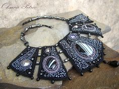 Beaded Beadwork Bead Embroidered Necklace with black от OPGDesign