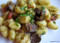 Gnocchi & Sausage Chimichurri ~ Vegan #vegan #dinner #tofurky #gnocchi
