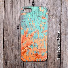 Shabby Chic Crackled Wood IPhone Case in Turquoise by TheCustomCase