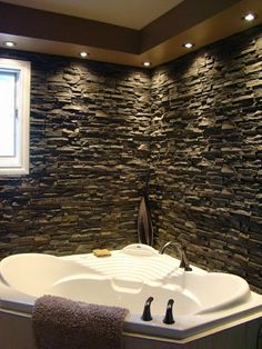 Bathroom Tub Surround With Stacked Stone Make Your Time Truly Relaxing Bathtub